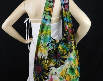Firework Tie Dye Bag Purse Sling Shoulder Messenger Crossbody Buddha Hobo Hippie Top Zip OAK VI-9