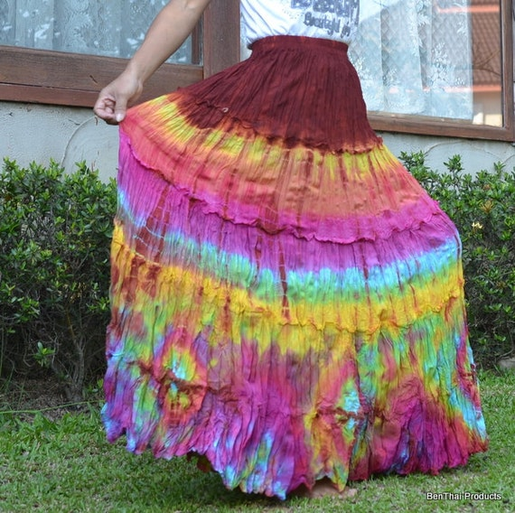 SALE Colorful Tie Dye Maxi Long Skirt Tiered Ruffle Skirt