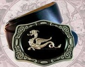 Belt Buckle Antique Silver Dragon Game of Thrones Inspired Inlaid in Hand Painted Black Onyx Enamel Custom Colors and Personalized Options