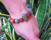 TERRA COTTA Handcrafted Olive Green Wood & Orange Tribal Print Beaded Unisex Bracelet