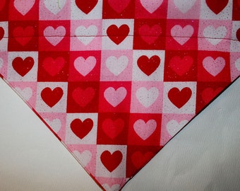 Dog Valentine's Day Square Heart over the collar bandana