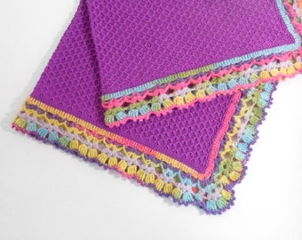 Knitted Baby Blanket - Purple
