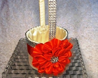 Poppy and Ivory Flower Girl Basket , Rhinestone Mesh handle and Trim, Orange Flower Girl Basket