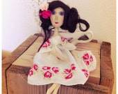 Tiny shelf sitter cloth art doll by Hope Rayel Morgan