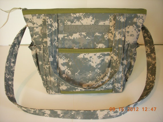 ACU Army Camo Quilted Diaper Bag Overnight or by LoveToSewBags