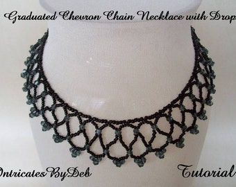 Tutorial Graduated Chevron Chain Necklace with Drop in Black - Jewelry Beading Pattern, Beadweaving Instructions, PDF, Do It Yourself