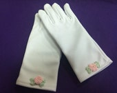 Girl gloves with pink rose small