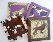 Cavalier King Charles Spaniel Silhouette Ceramic Tile Coasters