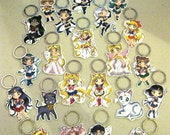 Sailor Moon Keychains, Earrings, Necklace - All Sailor Senshi (Venus, Mars, Jupiter, etc), Tuxedo Mask, Luna and Artemis, Starlights, Etc.