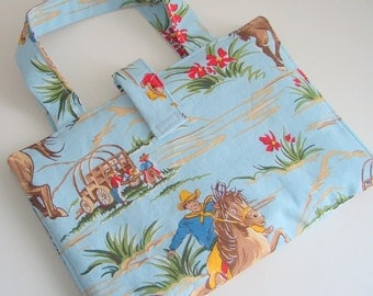 """Tablet case, 7"""" Kids Tablet Case, Cowboy Print Bag"""
