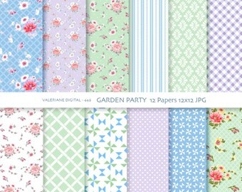 Shabby Chic Digital Paper Pack in blue green and lavender, digital backgrounds,  12 jpg files 12x12 -  Pack 446
