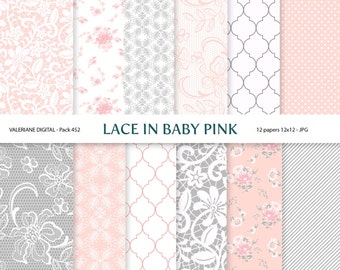 Digital papers  in pink and grey, digital backgrounds - 12 jpg files 12x12 - INSTANT DOWNLOAD Pack 452