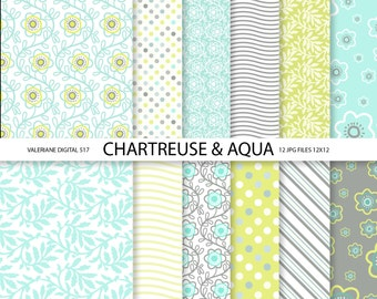 Floral Digital Paper Pack in blue aqua and Chartreuse, Modern Digital Paper, 12 jpg 12x12 -INSTANT DOWNLOAD Pack 517