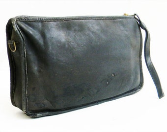 Vintage COACH Clutch Bag Distressed Black Leather NEW YORK