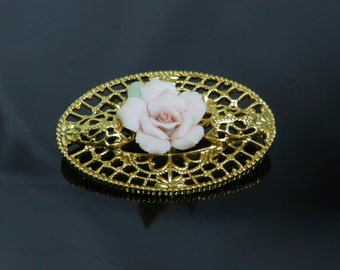 Vintage Victorian Porcelain Pink Rose Brooch Pin In Gold Tone Setting