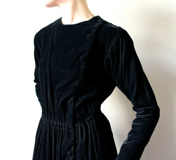 Black Velvet Victorian Dress, goth steampunk party frock, asymmetrical avant garde Western side button midi length boho prairie LBD