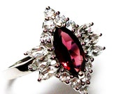 """Garnet ring, marquise ring, cocktail ring, statement ring, red,   s 9  """"Enchantment"""""""