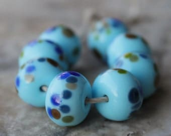 lampwork glass beads - spacer set - turquoise with blues and browns
