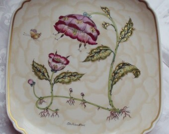 Now Reduced Vintage Ole Winther Plate Mother and Child Pink Fantasy Flowers Butterfly Hutschenreuther Limited Edition 1978 Art Nouveau