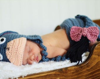 Eeyore Hat and Diaper Cover - Newborn Photo Prop - Made to Order
