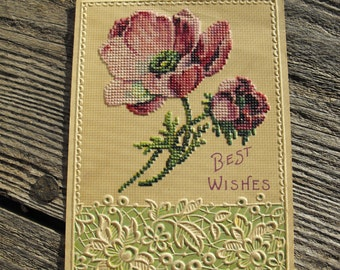 Elaborate Embossed Card with Faux Lace Detail and Faux Cross Stitch Poppies