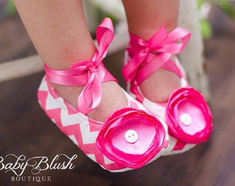 Hot Pink Chevron Baby Shoes Soft Ballerina Slippers Baby Booties
