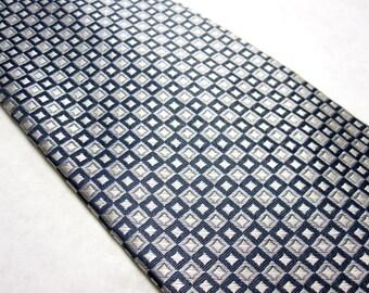 Blue Gray White Necktie Silk Stafford Neck Tie