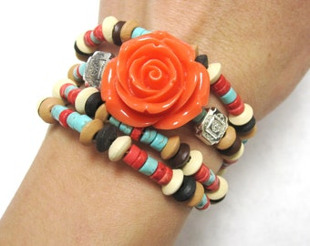 Western Concho Bracelet Cowgirl Coral Rose Cuff Wood Stone Wrap No Skulls