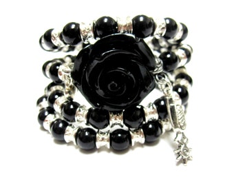 Black Rose Bracelet Western Spur Wrap Around Cuff Black Silver No Skulls