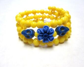Day of the Dead Bracelet Sugar Skull Jewelry Wrap Yellow Blue Flower