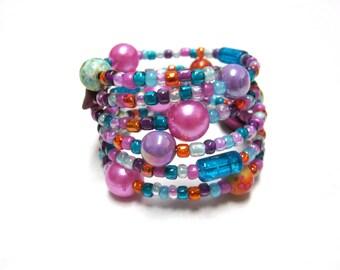 Purple Blue Pink Orange Bracelet Wrap Cuff Balloon Bubbles