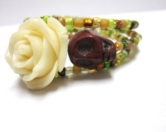 Sugar Skull Bracelet Day of the Dead Bracelet Ivory Brown Rose