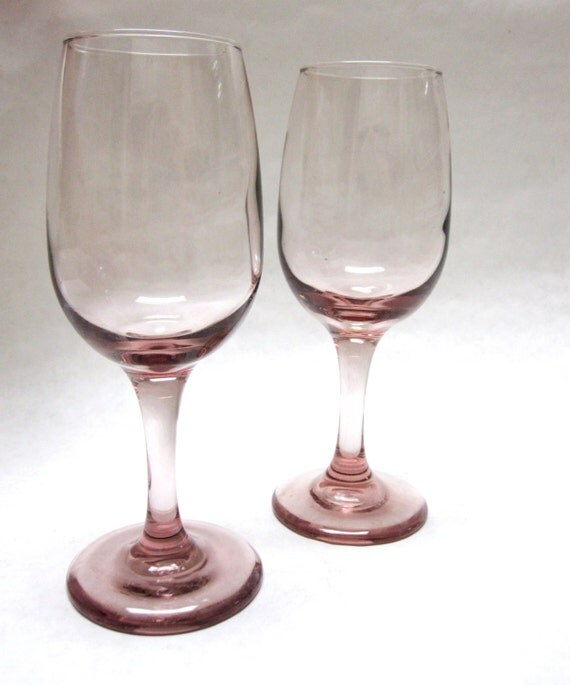 Purple Amethyst Stemmed Wine Drinking Glasses Delicate Set Of