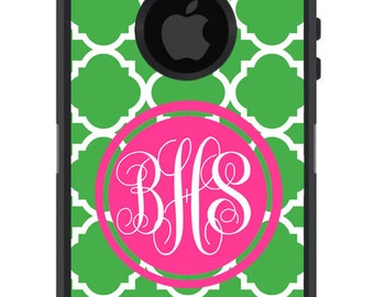 OTTERBOX DEFENDER iPhone 6 5 5S 5C 4/4S iPod Touch 5G Case Custom Green Lattice Hot Pink Circle - 3 Letter initial Monogram Personalized ID