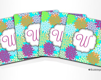 Custom PERSONALIZED Monogram COASTERS - Set of 4 - Bright Floral Blooms Flower - any color name initials