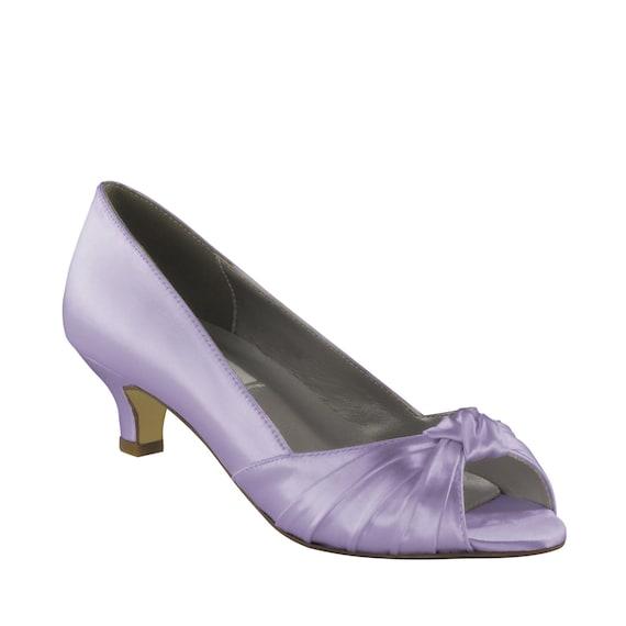 Purple Wedding Shoes Low Heel 175 Inch Heel By TheCrystalSlipper
