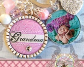 Personalized GRANDMA GIFT, Mom, Aunt Nana Mimi Pink Damask Key Chain with Photo Side Bezel, Mother's Day Gift, Photograph (or Necklace)