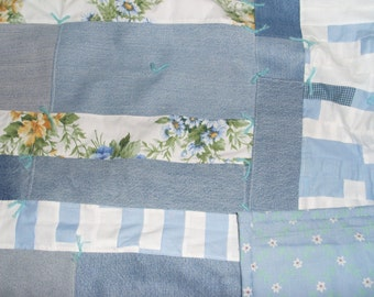 Upcycled Denim Picnic Quilts with Blue or Yellow Backing