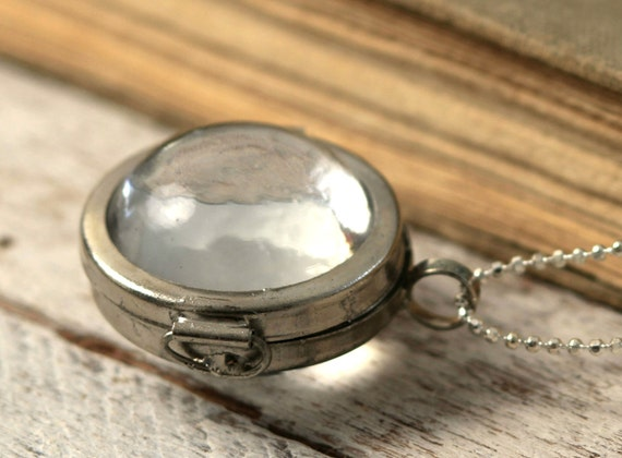 Magnifying Glass Double Sided Dome Locket Necklace with Faceted Ball Chain By Coughing Cow & Chicken
