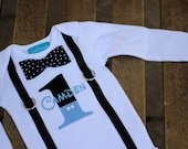 First Birthday Shirt Mickey Mouse Baby Blue Black and White Polka Dots Little Man