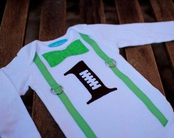 First Birthday Shirt Bodysuit Football Sports Brown Green Little Man Baby Boy 1st Birthday