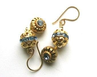 Vintage Swarovski Dangle Earrings - Blue Crystal Earrings - Filigree and Blue Crystal Dangle Earrings
