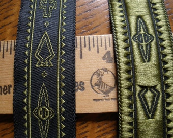 """Cool Vintage Trims -Embroidered Jacquard Green Arrows & Cross on black by 15/16"""" wide 5 yard lots yardage retro"""
