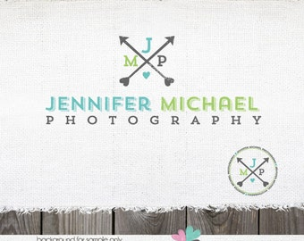 Premade Photography Logo - Hand Drawn Arrow with Heart and Initials Logo Design Name Text Logo