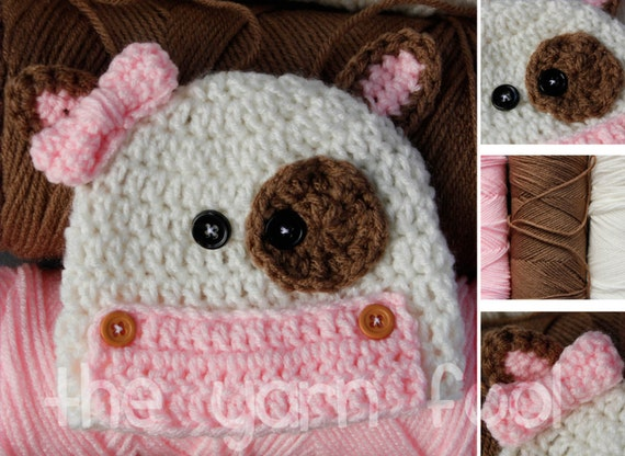 Crochet Cow Hat Newborn, Infant, Toddler, Youth, and Adult Sizes