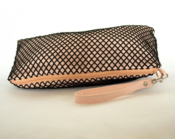 Black Fishnet and Peach Pink Pouch, Clutch