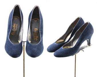 1940s shoes/ 40s baby doll heels/ blue suede