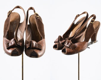 1940s shoes/ 40s peep toes/ bow