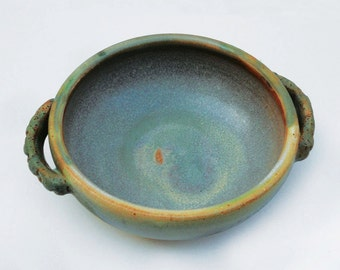 Tranquil Ocean Hued Soup or Sauce Bowl with Double Handles