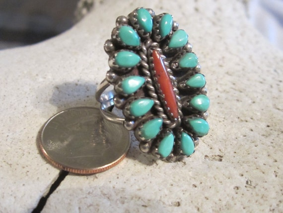 Navajo Turquoise Ring Petite Point Ring Sterling Silver Coral Ring Native American Southwestern